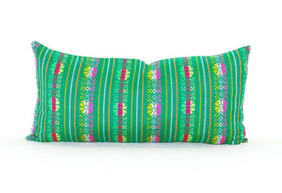 Mexican Pillow Cover - Colorful Pillow Cover, Green Mexican Pillow, Pillow Case Aztec Boho, Fiesta Decoration,