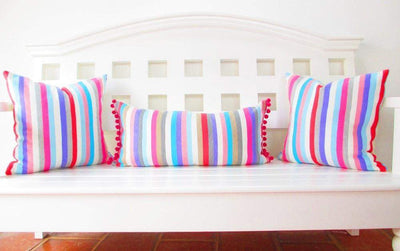 Mexican Pillow Cover - Colorful Pillow Cover, Mexican Pillows, Serape Stripe Blue, Pink, Red Pillow Case Aztec Boho