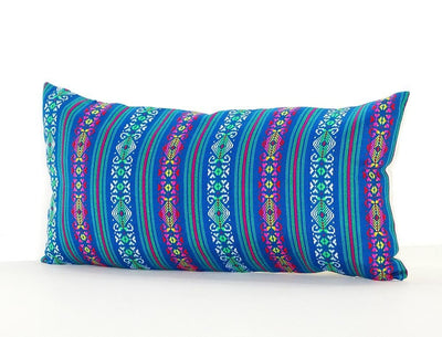 Mexican Pillow Cover - Colorful Pillow Cover, Teal Blue Mexican Pillow, Pillow Case Aztec Boho, Fiesta Decoration,