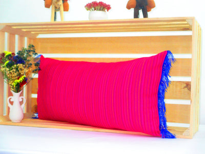 Mexican Pillow Cover - Hot Pink Blue Lumbar Pillow, 14x28 Inches, Striped Pillow Shams, Sofa Pillow Cover, Colorful Throw Pillow Covers, Boho Pillow, PCC71
