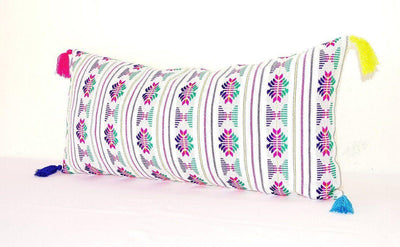 Mexican Pillow Cover - Lumbar Pillow Cover 14X28, Mexican Embroidered Cushion, Tribal Pillow With Tassels, Mexican Blanket Pillow