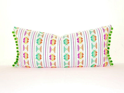 Mexican Pillow Cover - Lumbar White Pillow Cover 14x28 With Green Pom Poms, Boho Romm Decor