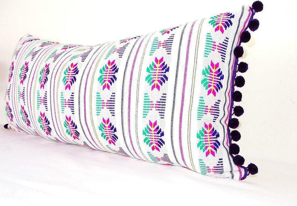 Lumbar White Pillow Cover 14x28 With Purple Pom Poms Boho