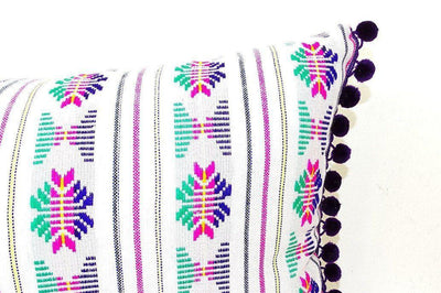 Mexican Pillow Cover - Lumbar White Pillow Cover 14x28 With Purple Pom Poms, Boho Romm Decor