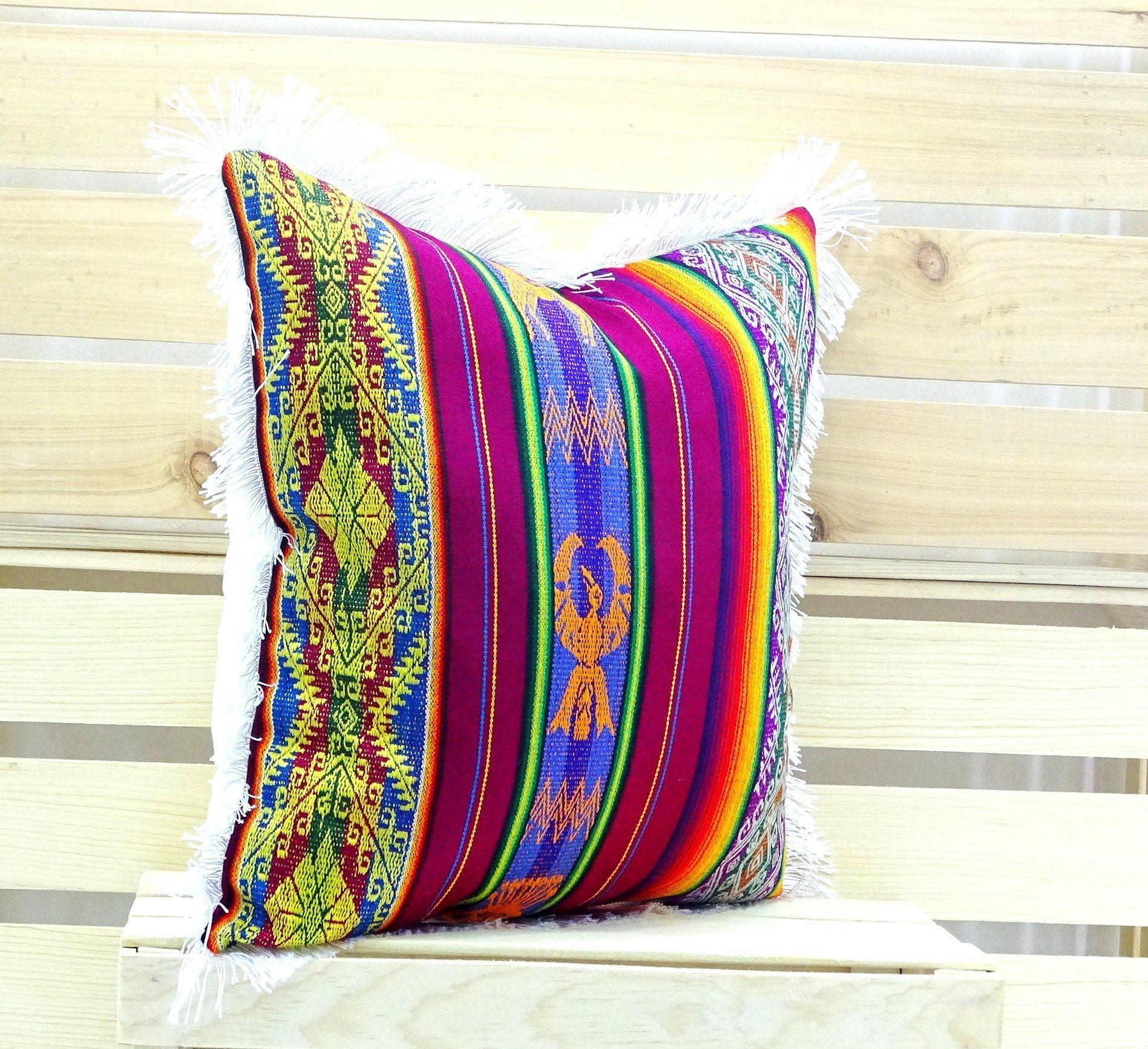 Mexican Pillow Cover   Mexican Cushion Cover 18x18 Inches Mexican Fiesta,  Bohemian Gypsy Décor,