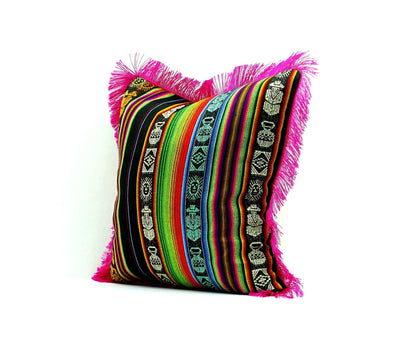Mexican Pillow Cover - Mexican Cushion Cover 18x18 Inches Mexican Fiesta, Bohemian Gypsy Décor, Mexican Throw Pillows, Mexican Embroidered, Pink Cushion, 18x18E1