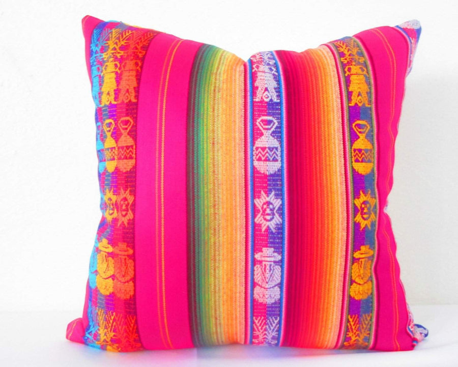 Tribal Pillow Cover 18x18 Inch Aztec Mexican Cushion