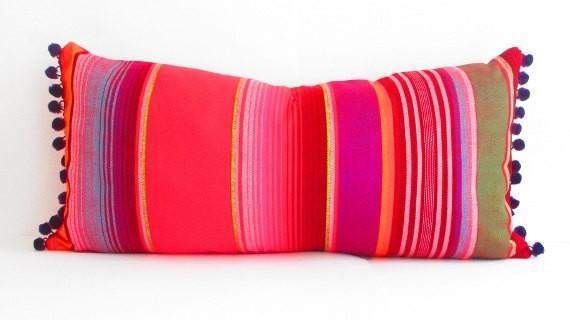 Mexican Pillow Cover - Red Long Bolster Pillow Cover, Tribal Aztec Mexican Throw Lumbar Cushion - Available In 3 Colors!