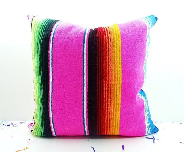 Mexican Pillow Cover - Tribal Pillow Cover 18X18 Inch, Aztec Mexican Cushion, Ethnic Pink Throw Boho Chic Decor