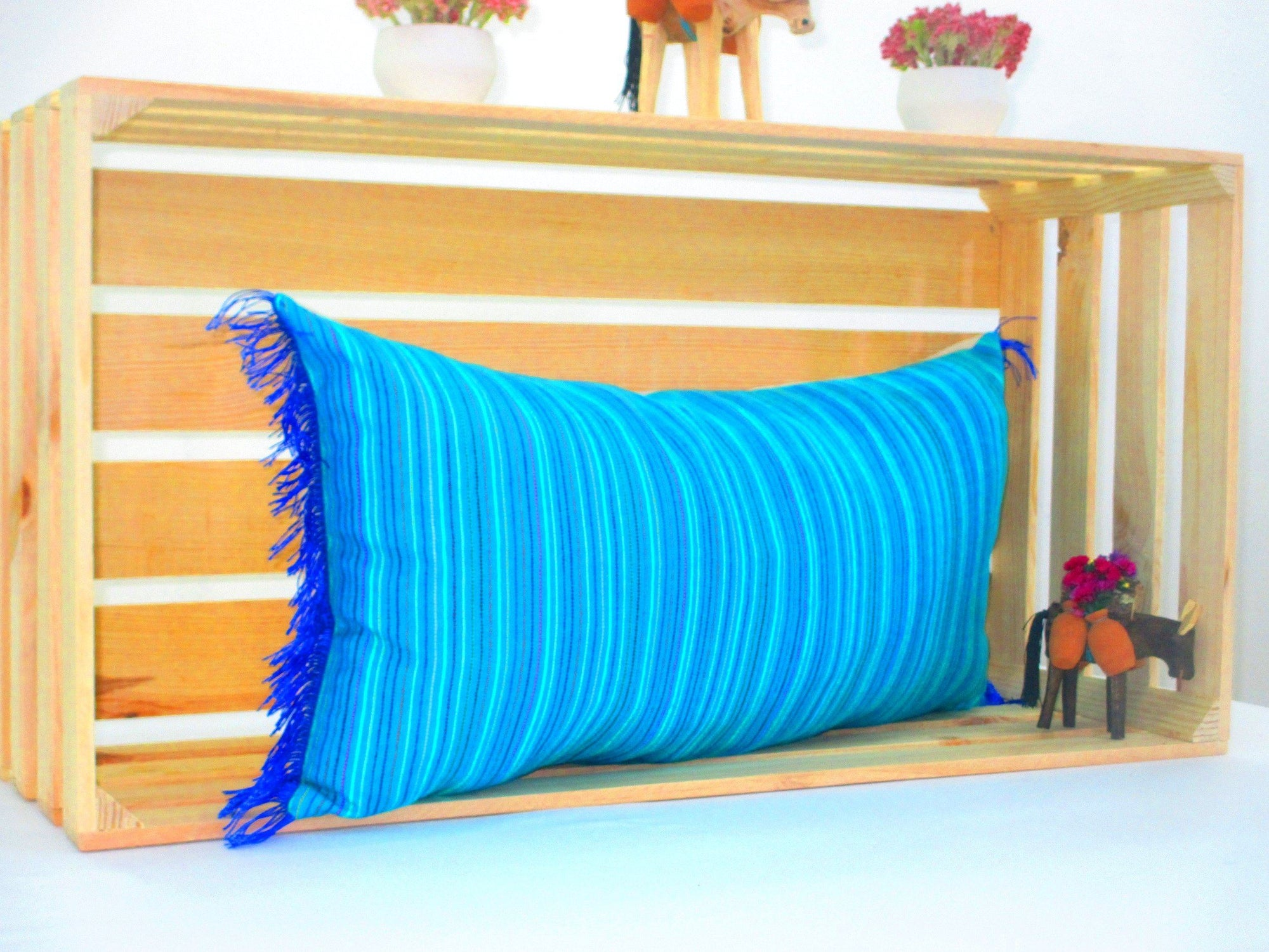 Picture of: Turquoise Blue Lumbar Pillow 14×28 Inches Striped Pillow Shams Sofa Mexfabricsupplies