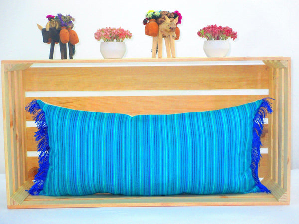 Turquoise Blue Lumbar Pillow 14x28 Inches Striped Pillow