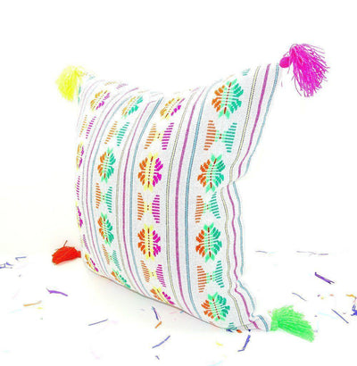 Mexican Pillow Cover - White Mexican Pillow Cover 18x18, Bohemian Decor, Boho Bedding, White Pillow Cover With Tassels