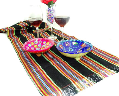 Mexican Table Runner   Black Mexico Table Runner , Wedding Table Runner,  Fiesta Decoration,