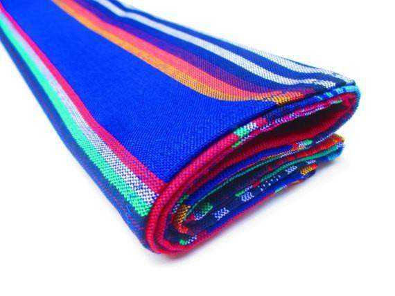 Mexican Table Runner - BLUE Mexican Table Runner, Authentic Serape Fabric From Mexico, Mexican Decorations Fiesta Party
