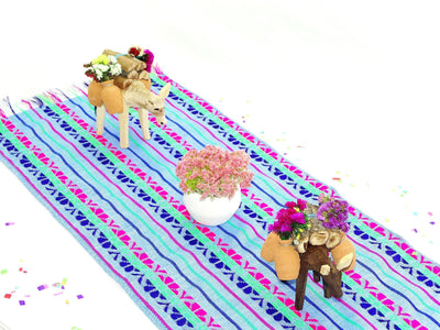 Mexican Table Runner - Bohemian Chic, Mexican Table Runner 14x72 Inches, Tela Mexicana, Mexican Fiesta Party, Aztec Fabric. Wedding Decor