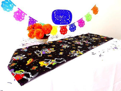 Mexican Table Runner - Day Of The Dead Table Runner 14x60 Inches, Day Of The Dead Altar, Halloween Decorations, Dinner Party Muertos, Fiesta Decoration, TRM21