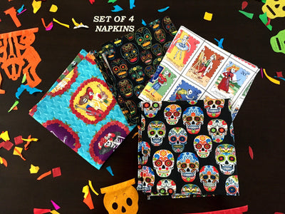 Mexican Table Runner - Dia De Muertos Decor, Day Of The Dead Napkins, Mexican Dinner Party Muertos, Mexican Fiesta Decoration MN10