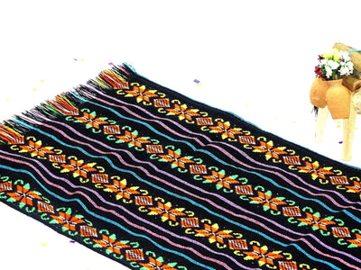 Mexican Table Runner - Ethnic Fabric, Colorful Tribal Fabric, Black Mexican Table Runner, Tela Mexicana.
