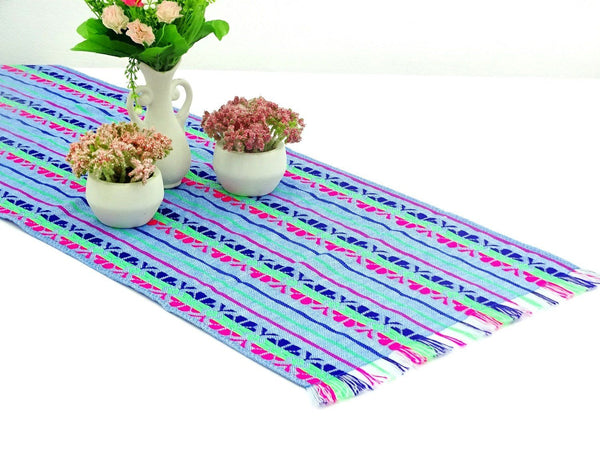 Mexican Table Runner - Mexican Table Runner, Aqua Blue Table Runner 14x72 Inches, Fiesta Decoration, Cinco De Mayo, Boho Chic Decor, Fiesta Decor Linens.