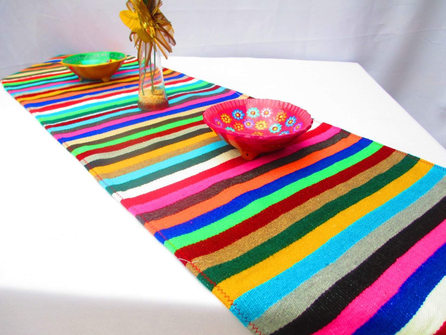 Beautiful Mexican Table Runner   Mexican Table Runner, Authentic Serape Fabric Table  Cloth From Mexico Multi