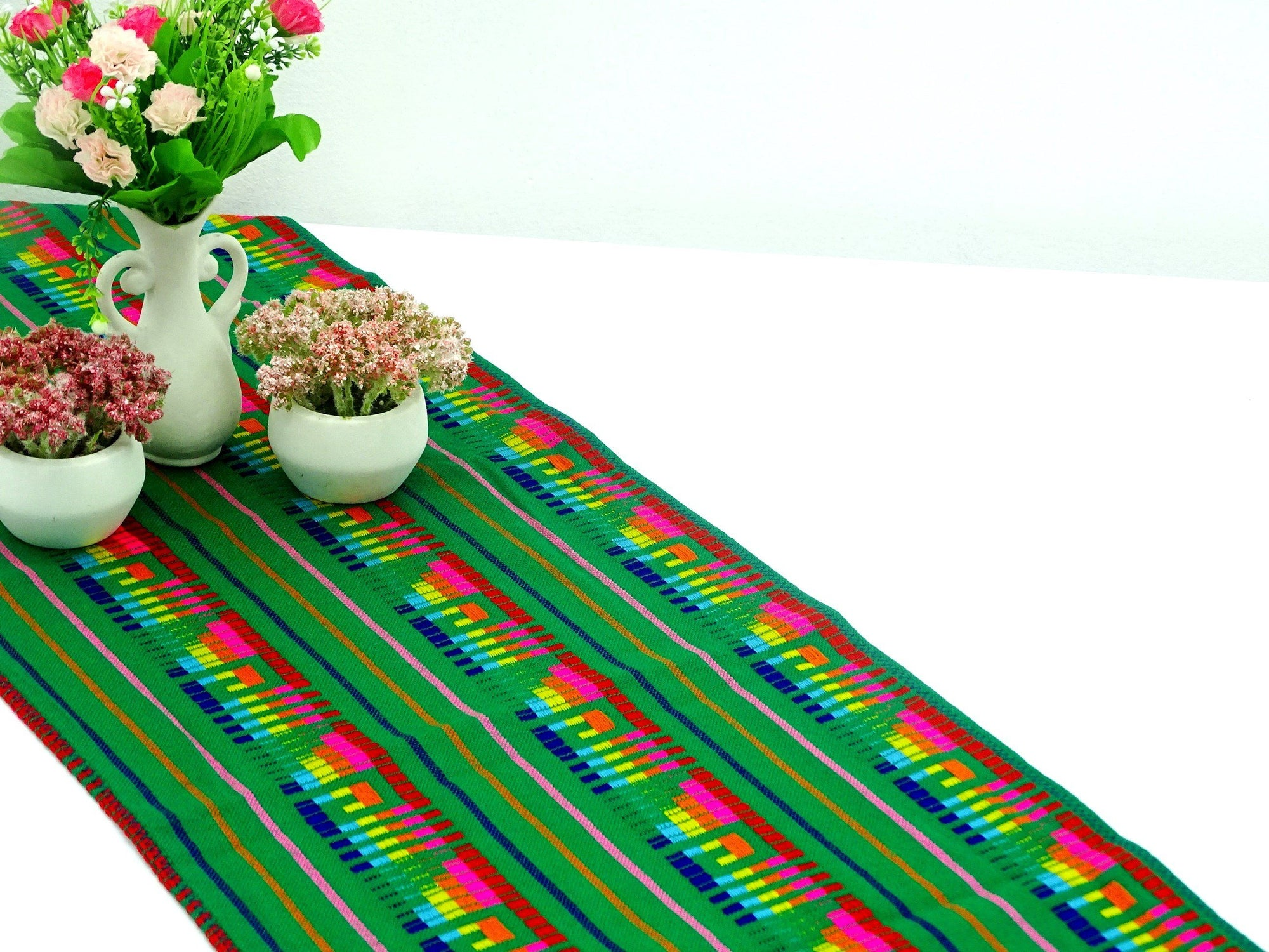 Mexican Table Runner   Mexican Table Runner, Green Table Runner 14x72  Inches, Fiesta Decoration