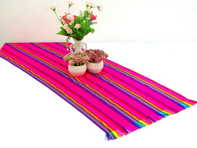 Mexican Table Runner - Mexican Table Runner, Pink Table Runner 14x72 Inches, Fiesta Decoration, Cinco De Mayo, Boho Chic Decor, Fiesta Decor Linens.