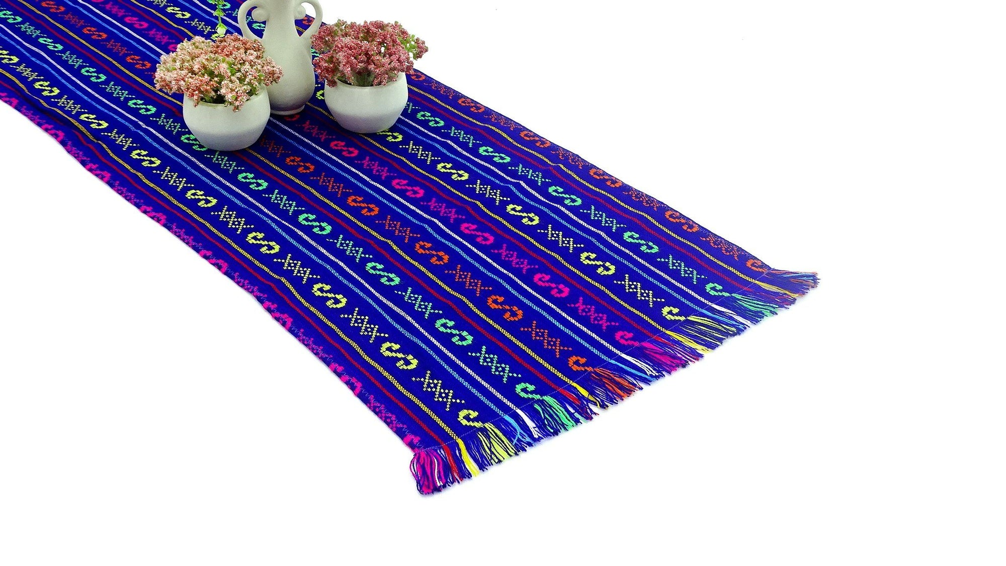 Mexican Table Runner - Mexican Table Runner, Purple Table Runner 14x72 Inches, Fiesta Decoration, Cinco De Mayo, Boho Chic Decor, Fiesta Decor Linens.