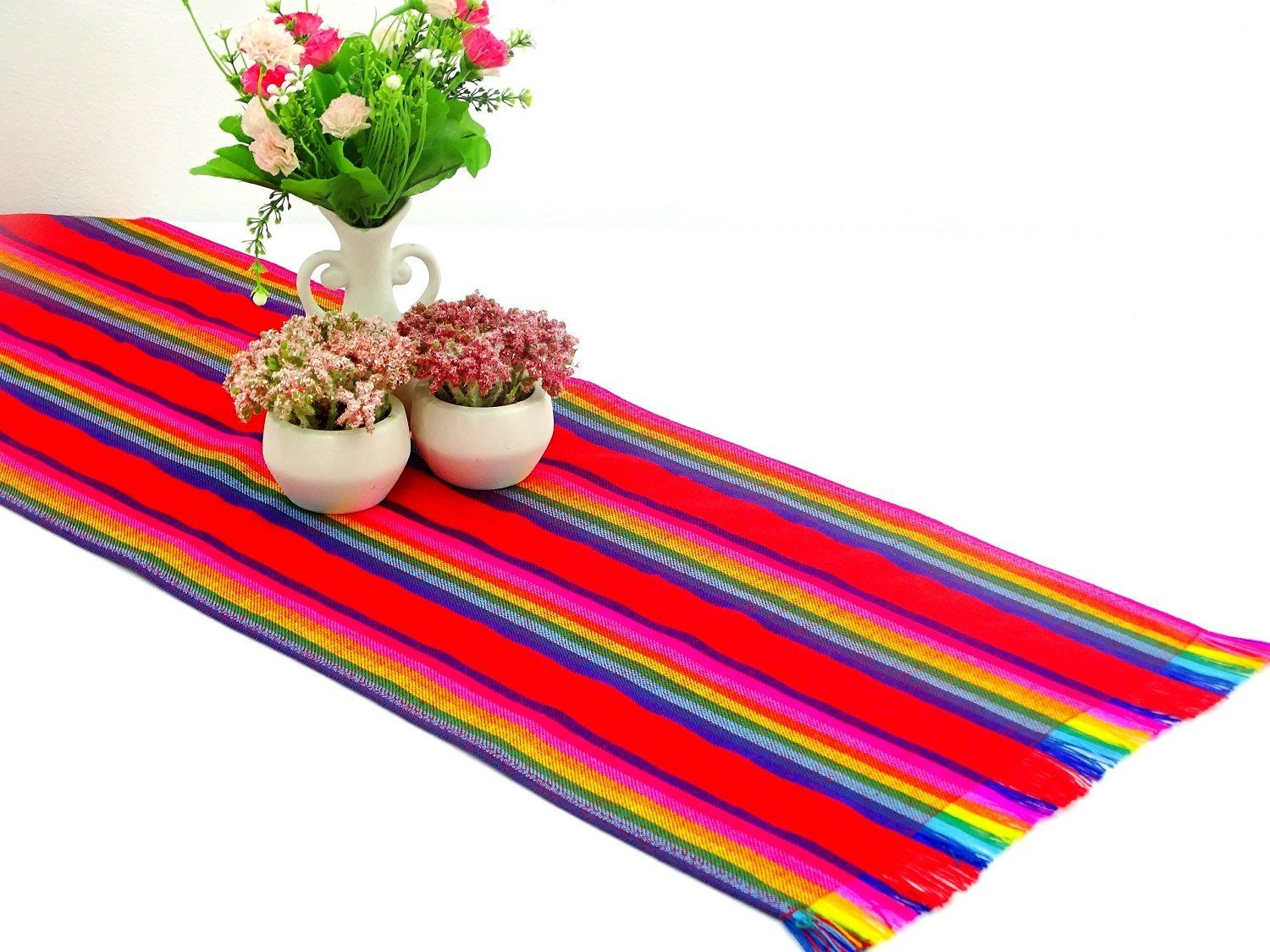 Mexican Table Runner - Mexican Table Runner, Red Table Runner 14x72 Inches, Fiesta Decoration, Cinco De Mayo, Boho Chic Decor, Fiesta Decor Linens.
