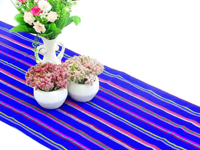 Mexican Table Runner - Mexican Table Runner, Royal Blue Table Runner 14x72 Inches, Fiesta Decoration, Cinco De Mayo, Boho Chic Decor, Fiesta Decor Linens.