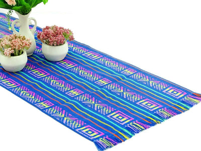 Mexican Table Runner - Mexican Table Runner, Teal Blue Table Runner 14x72 Inches, Fiesta Decoration, Cinco De Mayo, Boho Chic Decor, Fiesta Decor Linens.