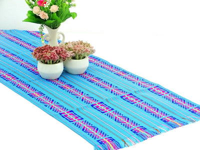 Mexican Table Runner - Mexican Table Runner, Turquoise Table Runner 14x72 Inches, Fiesta Decoration, Cinco De Mayo, Boho Chic Decor, Fiesta Decor Linens.