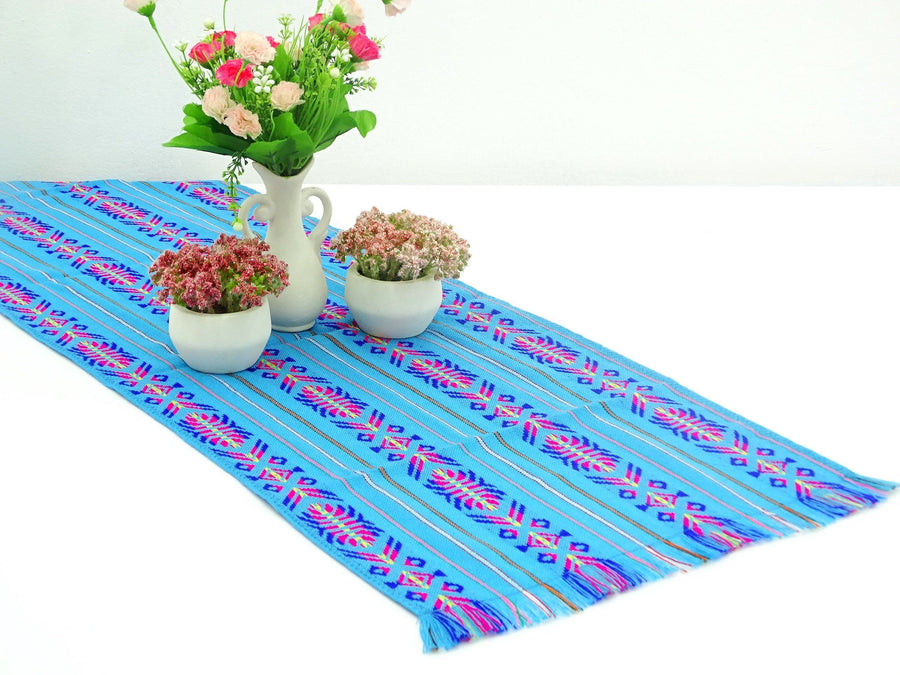 Mexican Table Runner   Mexican Table Runner, Turquoise Table Runner 14x72  Inches, Fiesta Decoration