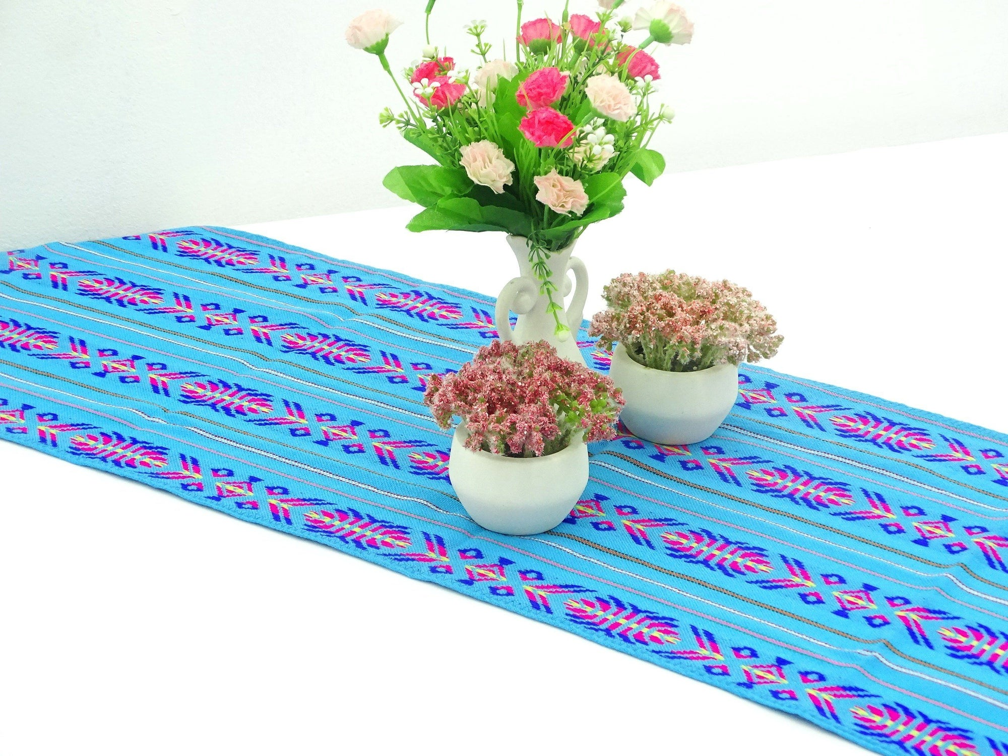 Delicieux Mexican Table Runner   Mexican Table Runner, Turquoise Table Runner 14x72  Inches, Fiesta Decoration