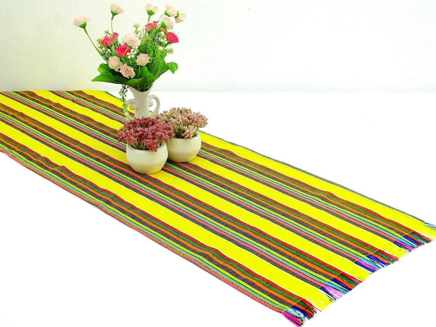Mexican Table Runner - Mexican Table Runner, Yellow Table Runner 14x72 Inches, Fiesta Decoration, Cinco De Mayo, Boho Chic Decor, Fiesta Decor Linens.