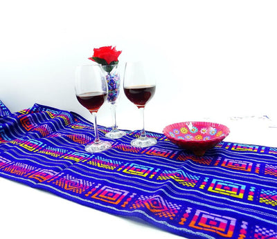 Mexican Table Runner - Mexican Themed Wedding, Mexican Dinner Party Decorations, Aztec Fabric, Bohemian Chic, Mexican Table Runner, Blue Tribal Fabric.