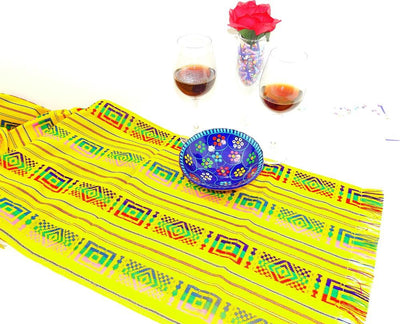 Mexican Table Runner - Mexican Wedding Decorations, Cinco De Mayo Party Decorations, Bohemian Chic, Mexican Dinner Party Decorations.