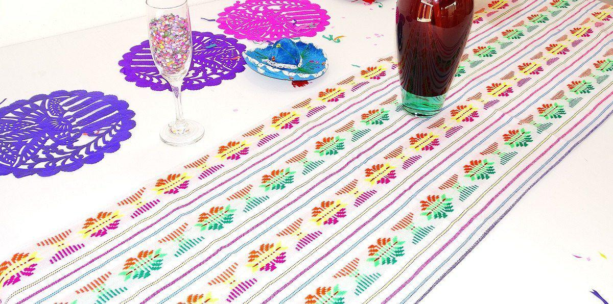 Mexican Table Runner - Mexico Table Runner, White Tribal Runners, Mexican Party Decorations, Aztec Table Cloth