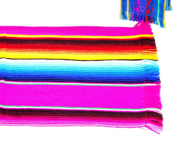 Mexican Table Runner - PINK Mexican Table Runner, Authentic Serape Fabric Table Cloth From Mexico, Table Linen, Aztec