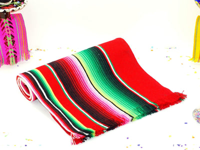 Mexican Table Runner - Red Mexican Table Runner, Authentic Table Cloth From Mexico Aztec Fiesta Party Decor, Made From Mexican Sarape Fabric