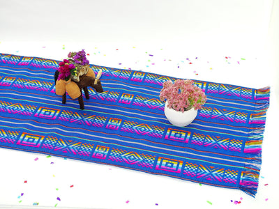 Mexican Table Runner - Teal Blue Mexican Table Runner - 3 Sizes Available