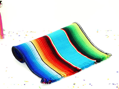 Mexican Table Runner - Turquoise Mexican Blanket Fabric Table Runner 14x60""