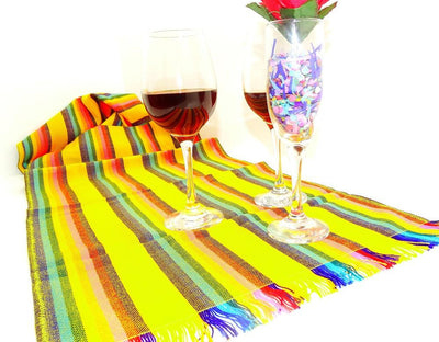 Mexican Table Runner - Yellow Sarape Mexican Table Runner, Tela Mexicana, Mexican Fiesta Party, Aztec Fabric, Mexican Wedding Decorations.