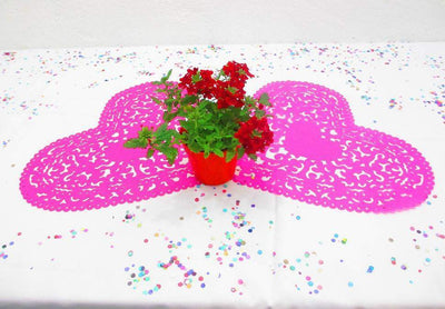 Mexican Weddings - Heart Paper Wedding Decorations, Pink Wedding Decor, Bridal Shower Paper Placemat