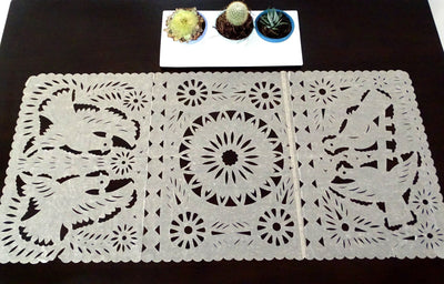 Mexican Weddings - Papel Picado Mexican Table Runner, Mexican Theme Party Decorations, Fiesta Bridal Shower Decor, Desert Sand Color Table Runner, TR30