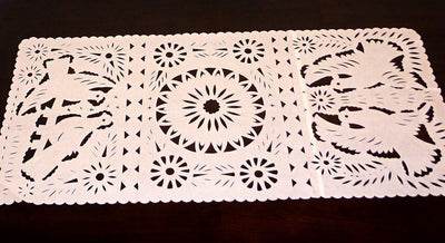 Mexican Weddings - Papel Picado Mexican Table Runner, Mexican Theme Party Decorations, Fiesta Bridal Shower Decor, Peach Table Runner, TR20