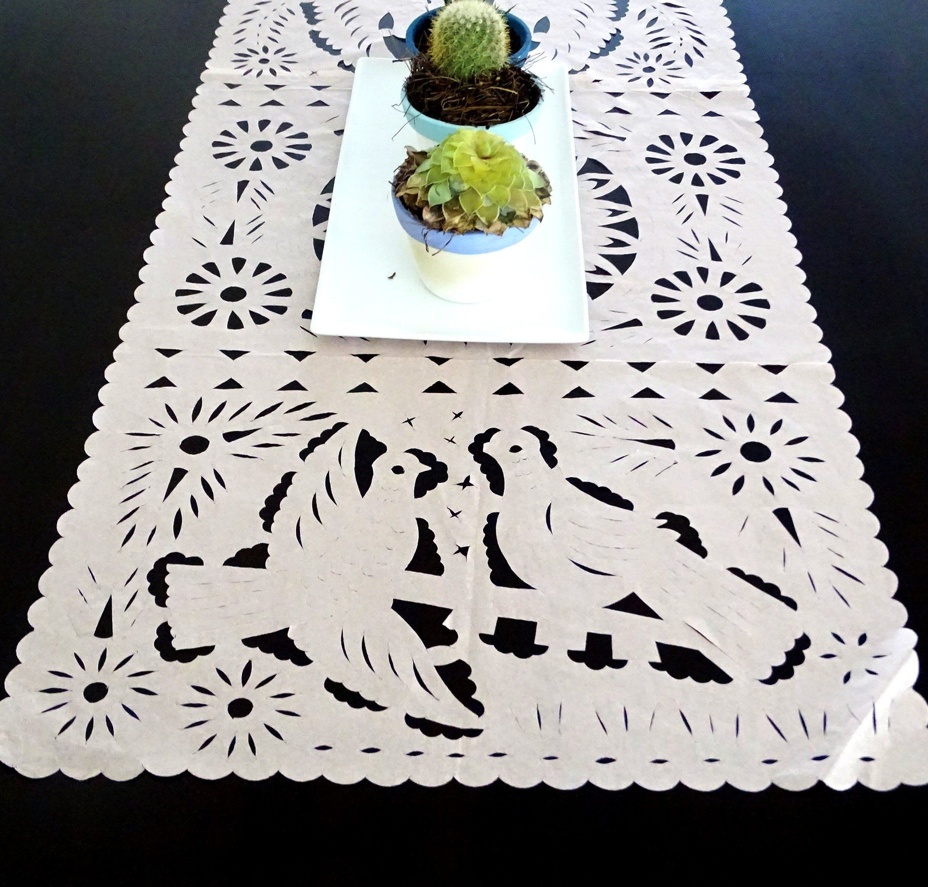 Papel picado Mexican table runner, Mexican theme party Decorations ...
