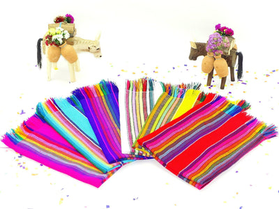 "6 Mexican Woven Cloth Napkins, 14""x 20"" Assorted Colors NAP002"