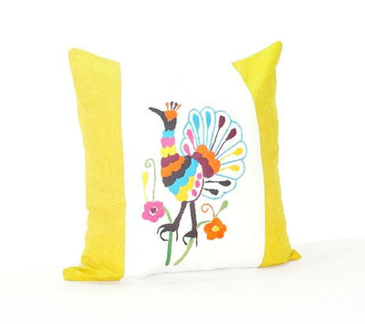 Otomi Pillow Cover - Bohemian Pillows, Otomi Cushion Cover, Mexican Pillow Cover In White And Mustard Yellow