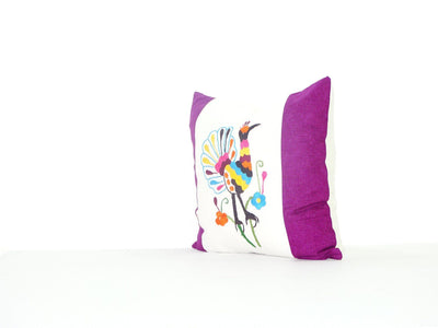 Otomi Pillow Cover - Bohemian Pillows, Otomi Cushion Cover, Mexican Pillow Cover In White And Purple