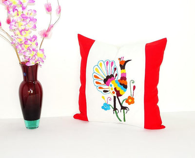 Otomi Pillow Cover - Bohemian Pillows, Otomi Cushion Cover, Mexican Pillow Cover In White And Red